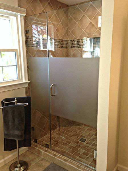 clear glass frameless shower unit  acid etch strip