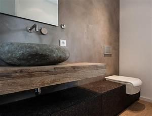 Waschtische Aus Naturstein : badezimmer mit waschtisch aus massivholz und naturstein als waschtisch bathroom i badezimmer ~ Markanthonyermac.com Haus und Dekorationen