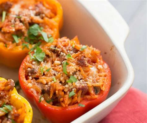 stuffed peppers recipe sausage orzo stuffed peppers