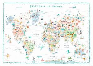 Affiche Carte Du Monde : affiche carte du monde illustr e pour enfants charlotte ~ Dailycaller-alerts.com Idées de Décoration