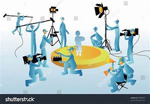 Film Maker Working Staff On Blue Stock Vector 90788039 ...