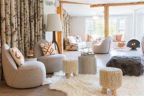 modern cabin living room  gray chairs  orange