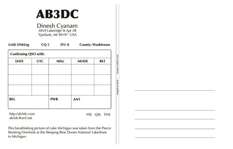 qsl card template new qsl cards design ab3dc s ham radio