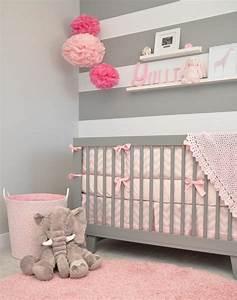 1001 conseils et idees pour une chambre en rose et gris With tapis chambre bébé avec epilobe petite fleur