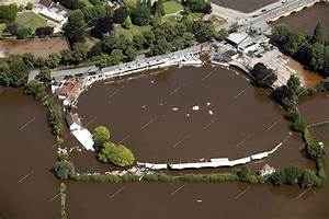 Aerial photographs of the great floods on river