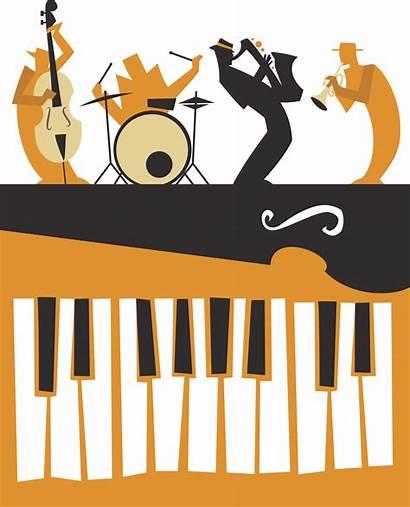 Jazz Clipart Piano Musicians Vector Illustrations Band