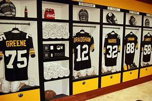 pittsburgh steelers 197039s locker room mural by tom taylor With kitchen cabinets lowes with pittsburgh steelers wall art