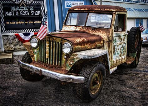 vintage willys jeep pickup truck photograph  kathy clark