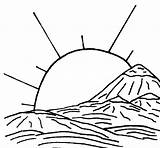 Coloring Pages Sunrise Landscape Adults Printable Getcolorings Popular Above Credit sketch template
