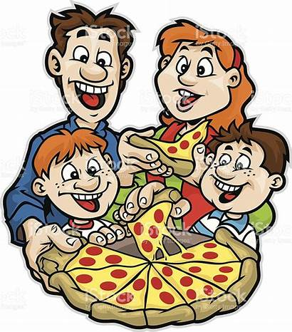 Pizza Eating Clipart Night Vector Party Clip