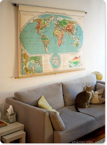 Vintage Map Living Room by Awesome Vintage Classroom Pull Map In Living Room