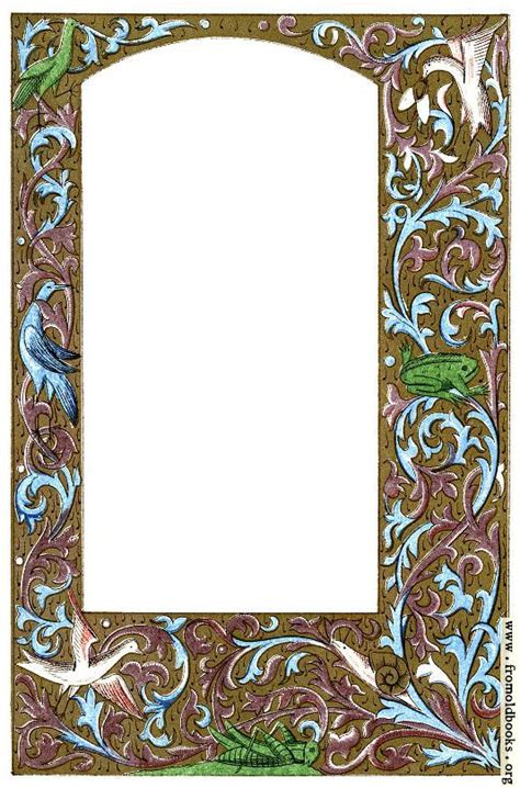 full page gold  coloured medieval border