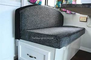 How to refinish an ugly booth dinette the new lighter life for Recover rv furniture