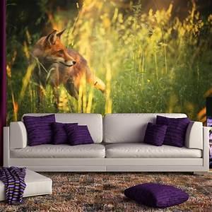 Red, Fox, Wall, Mural, Green, Grass, Nature, Wallpaper, Bedroom, Photo, Home, Decor
