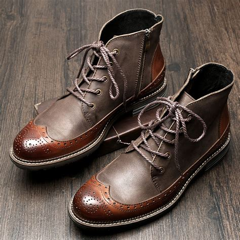 British Style Mens Genuine Leather Lace Brogue Wingtip