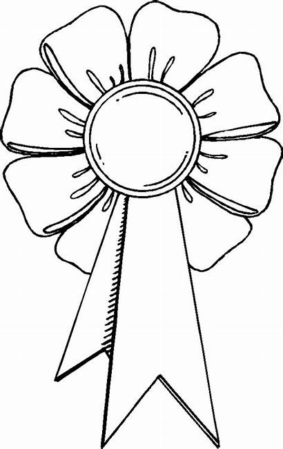 Ribbon Coloring Trophy Award Outline Pages Drawing