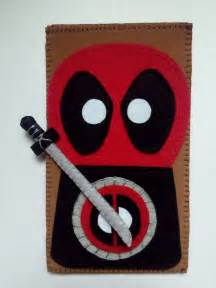 handmade deadpool phone case   felt cloth