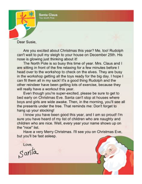 letter to child about santa i think i m as ready as i m letter from santa to an excited child 70020