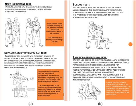 Special test in shoulder pain assessment: (a) Tests for ...