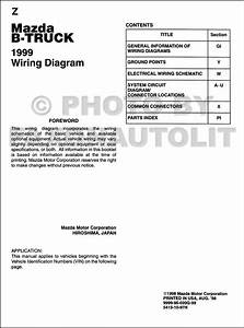 1999 Mazda B4000 B3000 B2500 Pickup Truck Wiring Diagram Manual Original