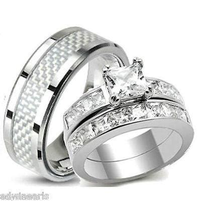 his hers aaa quality cz wedding ring stainless steel wedding rings edwin earls jewelry