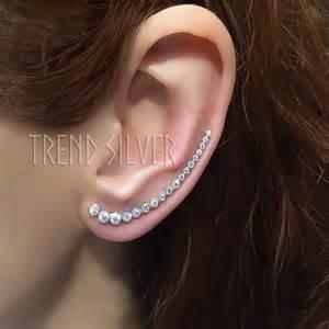 ear wraps and cuffs sterling silver ear crawler earrings white ear by