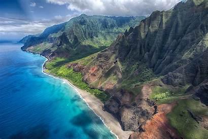Coast Napali Hawaii Islands Aerial Pali Nā