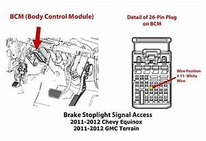 Locating Brake Stoplight Signal Location On 2012 Gmc