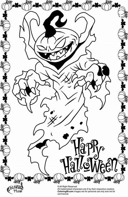 Scary Coloring Halloween Pages Monster Printable Pumpkin