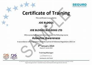 asbestos awareness online training seguro hs With health and safety certificate template