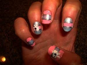 CrystaLs NaiL DesignS: BABY PINK & BLUE with SILVER & BOWS