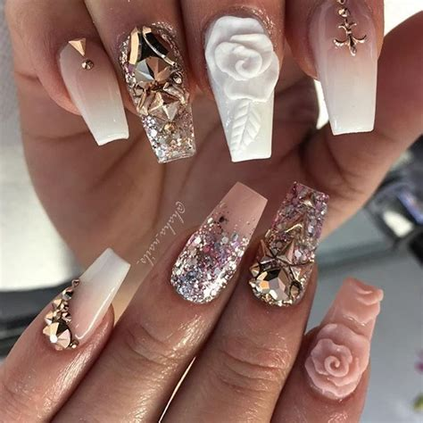 Rose Gold Glitter Nails Hulustream