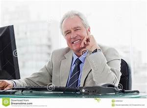 Smiling Senior Manager Working With A Monitor Stock Photography