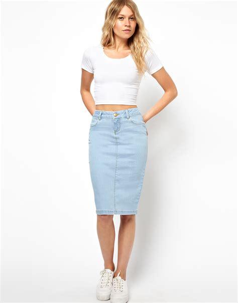 light blue jean skirt light blue denim pencil skirt asos ultra denim pencil