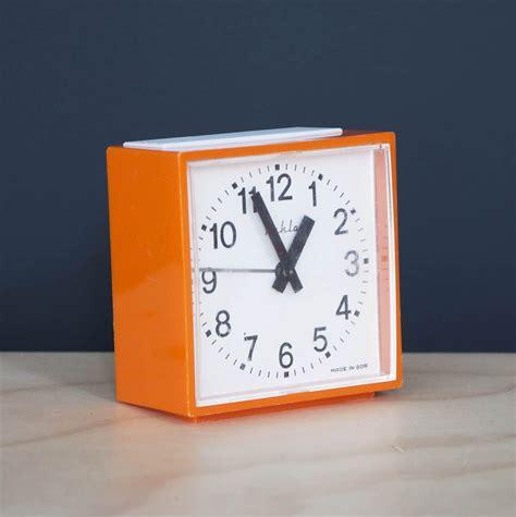 vintage orange square alarm clock bring   home
