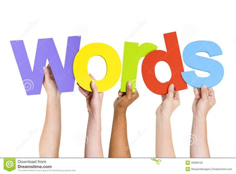 peoples arms raised holding word words stock photo