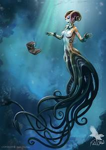 Drawn mermaid mythical creature - Pencil and in color ...