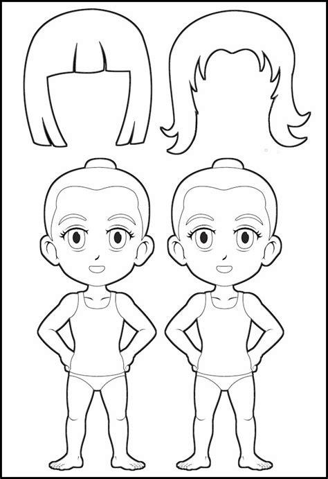 superhero paper dolls body  hair outline