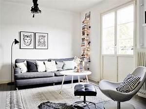 tapis gris salon qui rend l39atmosphere elegante et moderne With tapis champ de fleurs avec canapé gris et blanc