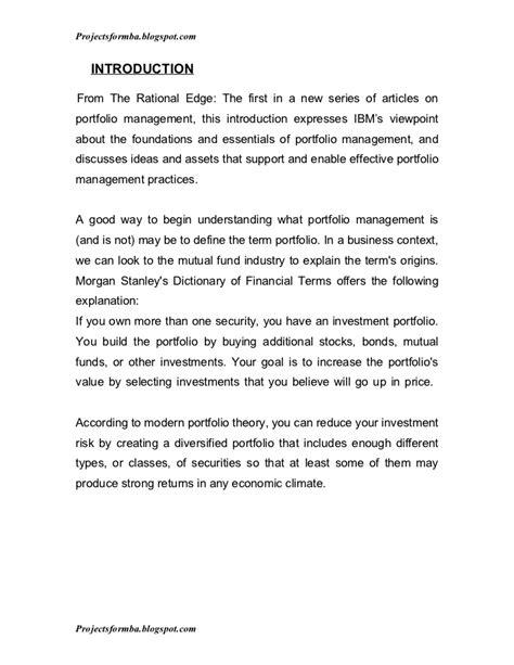 project report  portfolio management