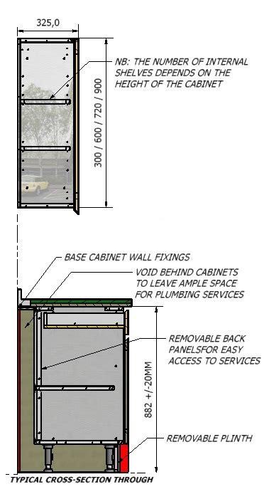 kitchen cabinet section technical details cavendish 2747