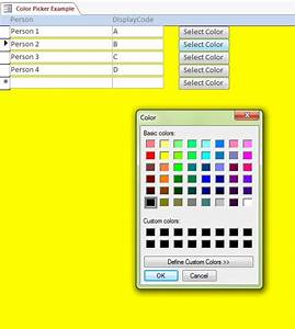 Microsoft Access Quote Database Custom Color Picker System Microsoft Access