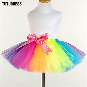Tuto Tutu Tulle : rainbow tutu kids girls tutu skirt fluffy baby tutus cute pettiskirt ribbons bow tulle skirt ~ Melissatoandfro.com Idées de Décoration