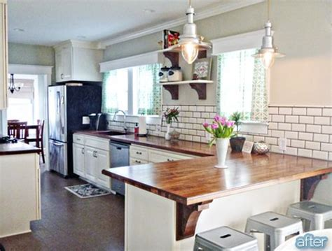 Butcher Block Peninsula In Kitchen I Really Love The Look