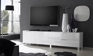 Banc Tv Design : banc tv blanc laqu design gabino ~ Teatrodelosmanantiales.com Idées de Décoration
