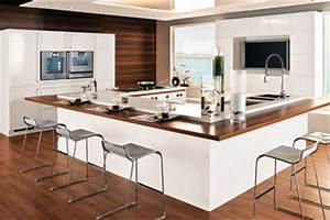 une cuisine avec ilot central cote maison With salle À manger contemporaine avec cuisine Équipé avec Électroménager pas cher