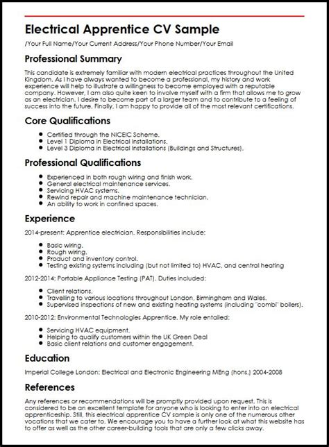 Electrical Supervisor Curriculum Vitae by Electrical Apprentice Cv Sle Myperfectcv
