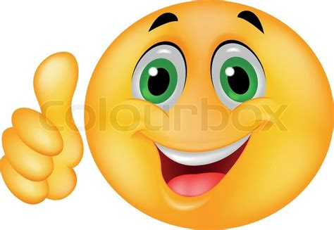 Vector Illustration Of Smiley Emoticon Cartoon With Thumb