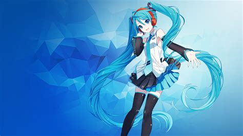 Anime Wallpaper Hd Hatsune Miku Wallpaper Hatsune Miku Anime Polygons Blue 4k