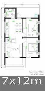 House, Design, Plans, 7x12, With, 2, Bedrooms, Full, Plans